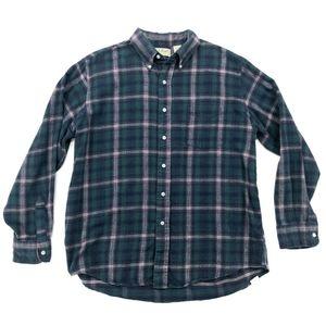 Vtg LL BEAN Flannel Shirt Large Plaid USA MADE